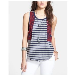{free people} embroidered nautical stripe top